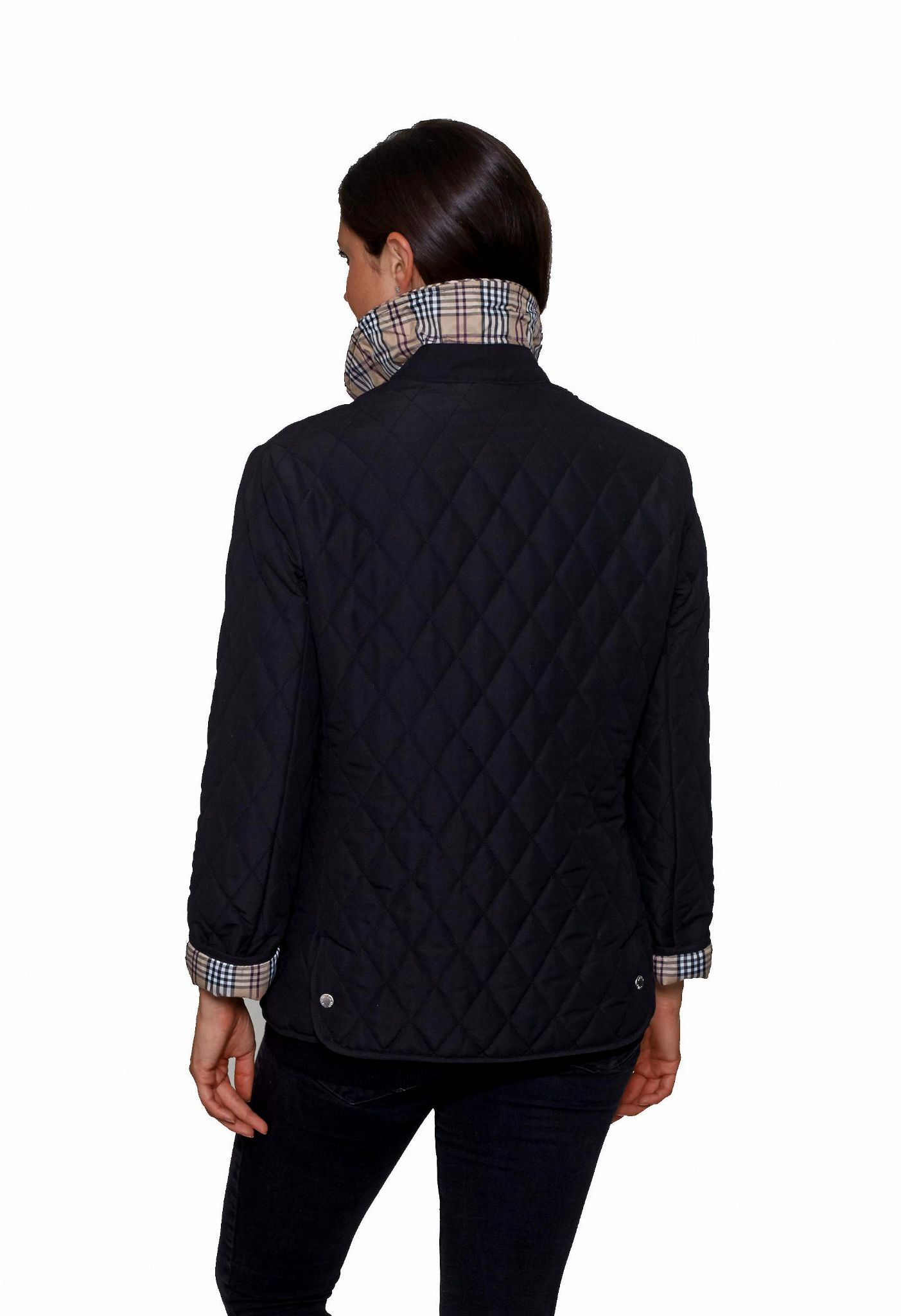Womens Check Lined Diamond Quilted Jacket